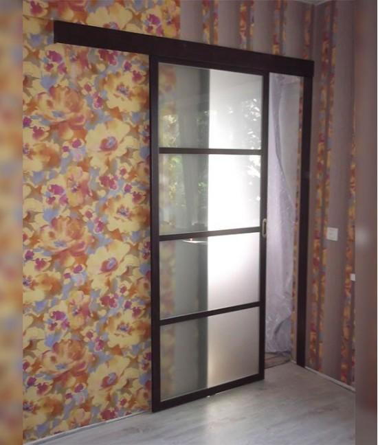 Навесные раздвижные стеклянные двери межкомнатные купить