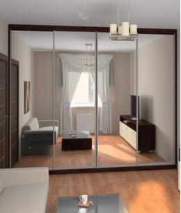 Зеркальные двери для шкафа-купе в зал