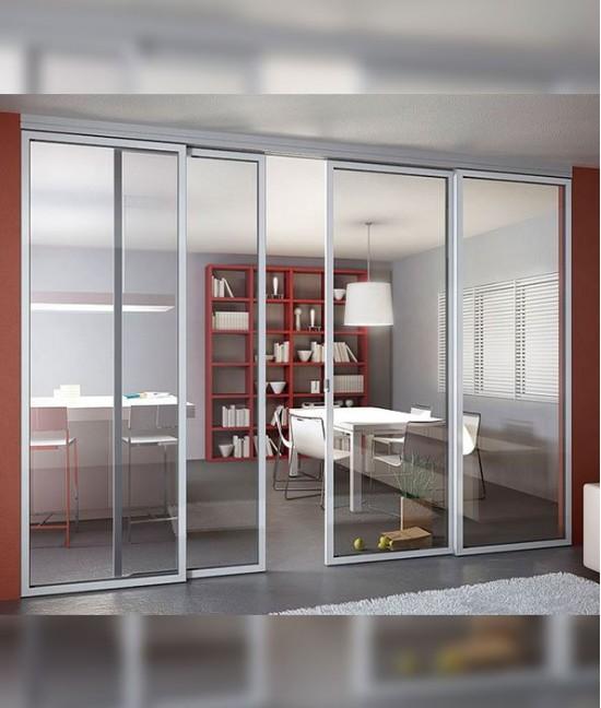 Широкие стеклянные двери