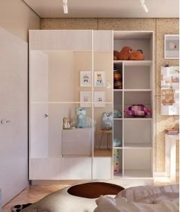 Шкаф купе в детскую комнату белый