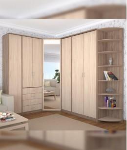Угловой шкаф купе в спальню в цвете дуб санома