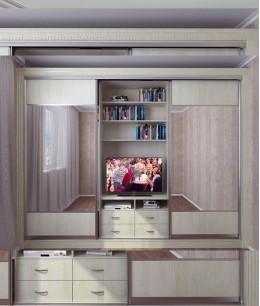 Шкаф купе с нишей под телевизор трехдверный